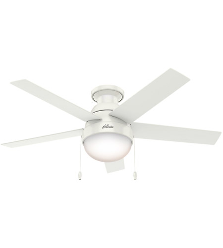 Hunter Fan 59269 Anslee 46 inch Fresh White with Fresh White/Natural Wood Blades Ceiling Fan, Low Profile  photo