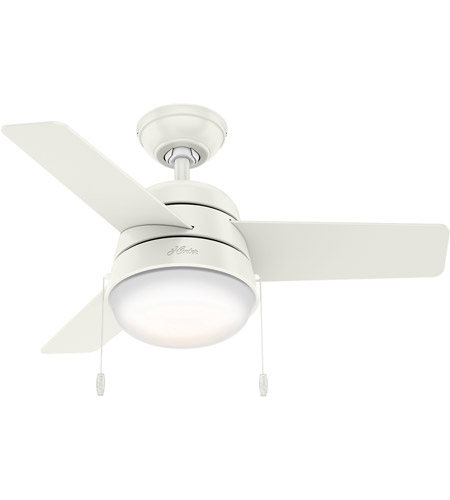 Hunter Fan 59301 Aker 36 inch Fresh White with Fresh White/Natural Wood  Blades Ceiling