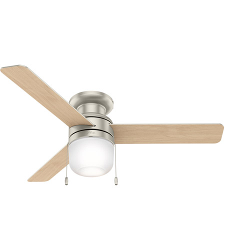 Hunter Fan 59408 Aen 52 Inch Matte Nickel With Natural Wood Blades Ceiling