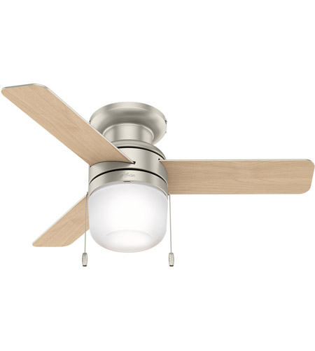 Hunter Fan 59466 Aen 42 Inch Matte Nickel With Natural Wood Blades Ceiling