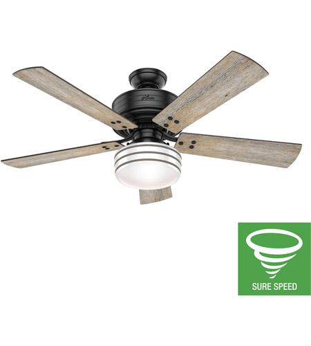 Hunter Fan 55078 Cedar Key 52 Inch Matte Black With Barnwood Black Willow Blades Outdoor Ceiling Fan