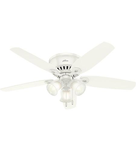 Hunter Fan 53326 Builder 52 Inch Snow White With Snow White Light Oak Blades Ceiling Fan Low Profile