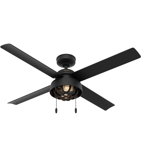 Hunter Fan 50336 Spring Mill 52 inch Matte Black Outdoor Ceiling Fan photo
