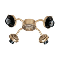 Hunter Fans Four Light Straight Arm Fitter 4 Light Fan Light Kit in Antique Brass (no glass) 22574