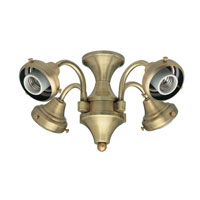 Hunter Fans Four Light Fitter 4 Light Fan Light Kit in Antique Brass (no glass) 28124