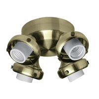 Hunter Fans Four Light Fitter With Integrated Switch Housing 4 Light Fan Light Kit in Antique Brass (no glass) 28652 photo thumbnail
