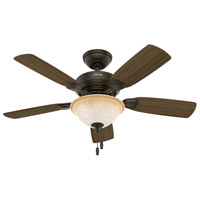 Caraway 44 inch New Bronze with Harvest Mahogany/Golden Walnut Blades Indoor Ceiling Fan