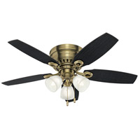 Hatherton 46 inch Antique Brass with Black Oak/Dark Walnut Blades Ceiling Fan, Low Profile
