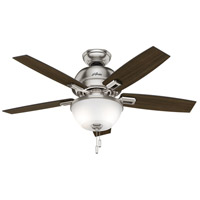 Donegan 44 inch Brushed Nickel with Dark Walnut/Distressed Oak Blades Indoor Ceiling Fan