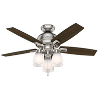 Donegan 44 inch Brushed Nickel with Dark Walnut/Distressed Oak Blades Ceiling Fan