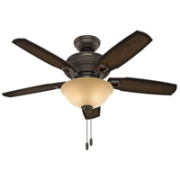 Hunter Fan 52232 Ambrose 44 inch Onyx Bengal with Burnished Aged Maple/Aged Maple Blades Ceiling Fan