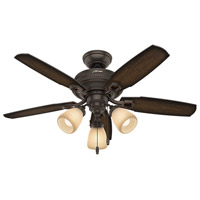 Hunter Fan 52233 Ambrose 44 inch Onyx Bengal with Burnished Aged Maple/Aged Maple Blades Ceiling Fan