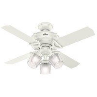 Hunter Fan 52262 Brunswick 44 inch Fresh White with Fresh White/Grey Oak Blades Ceiling Fan