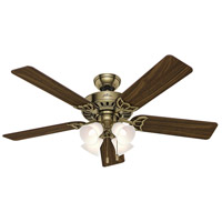 Studio Series 52 inch Antique Brass with Walnut/Medium Oak Blades Indoor Ceiling Fan