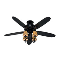 Hunter Fans Cortland 4 Light 54in Ceiling Fan in Basque Black with Brushed Gold Accents 53095