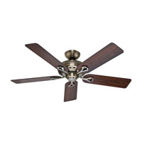 The Savoy 52 inch Antique Brass with Rosewood/Medium Oak Blades Indoor Ceiling Fan