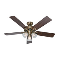 The Sontera 52 inch Antique Brass with Walnut/Medium Oak Blades Indoor Ceiling Fan