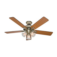 The Sontera 52 inch Hunter Bright Brass Finish with Oak/Walnut Blades Indoor Ceiling Fan