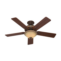 Hunter Fans Aventine 2 Light Indoor Ceiling Fan in Cocoa with Spanish Gold Accents 53134