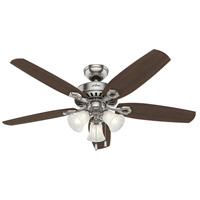 Builder Plus 52 inch Brushed Nickel with Brazilian Cherry/Harvest Mahogany Blades Ceiling Fan