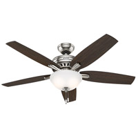 Newsome 52 inch Brushed Nickel with Medium Walnut/Dark Walnut Blades Indoor Ceiling Fan