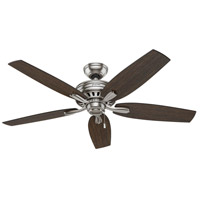 Newsome 52 inch Brushed Nickel with Medium Walnut/Dark Walnut Blades Ceiling Fan