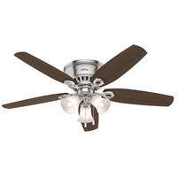 Hunter Fans Builder Low Profile 3 Light Indoor Ceiling Fan in Brushed Nickel with Brazilian Cherry/Harvest Mahogany Blades 53328