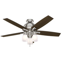 Donegan 52 inch Brushed Nickel with Dark Walnut/Distressed Oak Blades Indoor Ceiling Fan