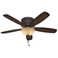 Hunter Fan 53355 Ambrose 52 inch Onyx Bengal with Burnished Aged Maple/Aged Maple Blades Ceiling Fan Low Profile