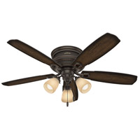Hunter Fan 53356 Ambrose 52 inch Onyx Bengal with Burnished Aged Maple/Aged Maple Blades Ceiling Fan Low Profile