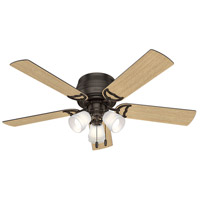 Hunter Fan 53386 Prim 52 inch Premier Bronze with Drifted Oak/Dark Walnut Blades Ceiling Fan, Low Profile photo thumbnail