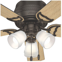 Hunter Fan 53386 Prim 52 inch Premier Bronze with Drifted Oak/Dark Walnut Blades Ceiling Fan, Low Profile alternative photo thumbnail