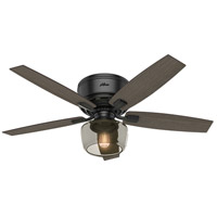 Bennett 52 inch Matte Black with Grey Walnut/Burnt Walnut Blades Ceiling Fan, Low Profile