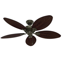 Hunter Fan 54098 Bayview 54 inch Provencal Gold with Antique Dark Wicker/Antique Dark Palm Leaf Blades Outdoor Ceiling Fan