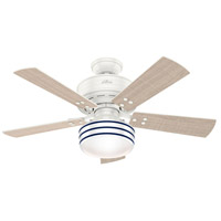 Hunter Fan 54148 Cedar Key 44 inch Fresh White with Washed Walnut/Light Stripe Blades Outdoor Ceiling Fan