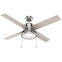 Hunter Fan 54153 Loki 52 inch Polished Nickel with Light Grey Oak/Drifted Oak Blades Ceiling Fan