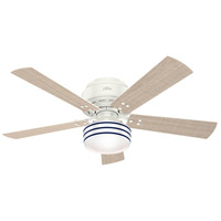 Hunter Fan 55079 Cedar Key 52 inch Fresh White with Washed Walnut/Light Stripe Blades Outdoor Ceiling Fan Low Profile