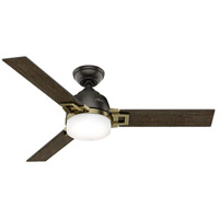Hunter Fans Leoni LED Indoor Ceiling Fan in Noble Bronze and Modern Brass with Dark Walnut/Black Oak Blades 59220