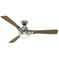 Signal 54 inch Satin Nickel with Burnt Oak Grain/Reclaimed Walnut Blades Indoor Ceiling Fan