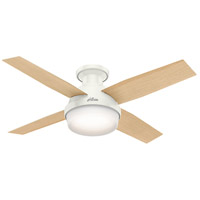 Dempsey 44 inch Fresh White with Fresh White/Blonde Oak Blades Ceiling Fan, Low Profile