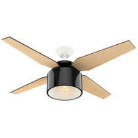 Hunter Fan 59257 Cranbrook 52 inch Gloss Black with Blonde Oak/Mid Century Walnut Blades Ceiling Fan
