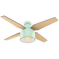 Hunter Fan 59260 Cranbrook 52 inch Mint with Blonde Oak/Mid Century Walnut Blades Ceiling Fan Low Profile