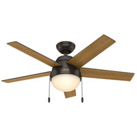 Hunter Fan 59265 Anslee 46 inch Premier Bronze with American Walnut/Dark Walnut Blades Ceiling Fan
