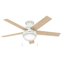 Hunter Fan 59269 Anslee 46 inch Fresh White with Fresh White/Natural Wood Blades Ceiling Fan, Low Profile  alternative photo thumbnail