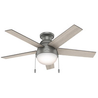 Hunter Fan 59270 Anslee 46 inch Matte Silver with Light Grey Oak/Grey Walnut Blades Ceiling Fan, Low Profile