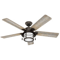 Hunter Fan 59273 Key Biscayne 54 inch Onyx Bengal with Barnwood/Drifted Oak Blades Outdoor Ceiling Fan photo thumbnail