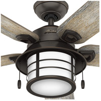 Hunter Fan 59273 Key Biscayne 54 inch Onyx Bengal with Barnwood/Drifted Oak Blades Outdoor Ceiling Fan alternative photo thumbnail