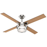 Hunter Fan 59318 Maybeck 52 inch Polished Nickel with Washed Oak/Mid Century Walnut Blades Ceiling Fan