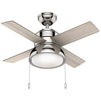 Hunter Fan 59386 Loki 36 inch Polished Nickel with Light Grey Oak/Drifted Oak Blades Ceiling Fan