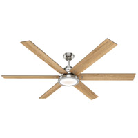 Hunter Fan 59398 Warrant 70 inch Brushed Nickel with Drifted Oak/Bleached Grey Pine Blades Ceiling Fan